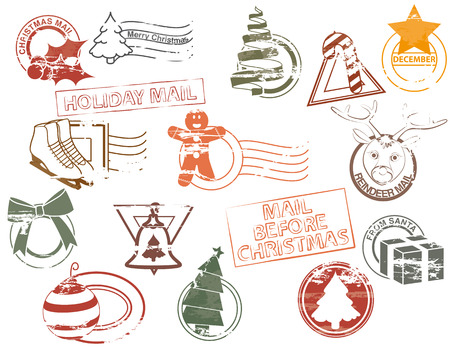 Christmas rubber stamps Stock Vector - 8043543