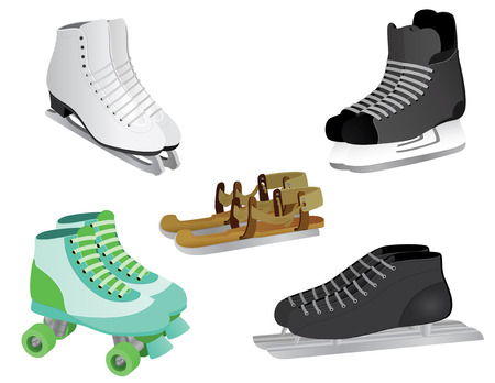 long distance: 5 different skates, from ice skates to roller skates, from modern skates to old fashioned wooden skates. Illustration