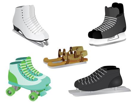 schaatsen: 5 verschillende schaatsen, van ijs-of rolschaatsen te rolschaatsen, van moderne schaatsen aan oude ouderwetse houten schaatsen. Stock Illustratie