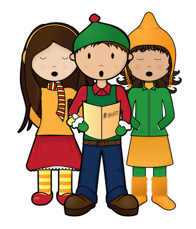 Group of 3 Carolers singing Christmas songs Vector