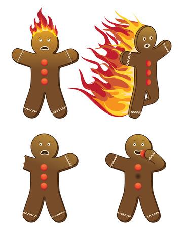 4 humorous gingerbread men  Stock Vector - 8986716