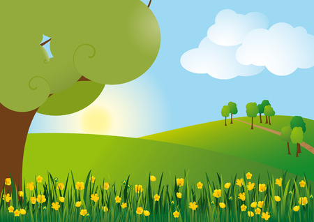 Buttercup scenery Stock Vector - 8986740