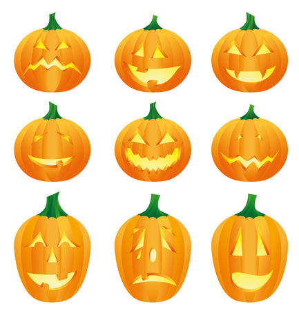 9 halloween pumpkins Stock Vector - 8986705