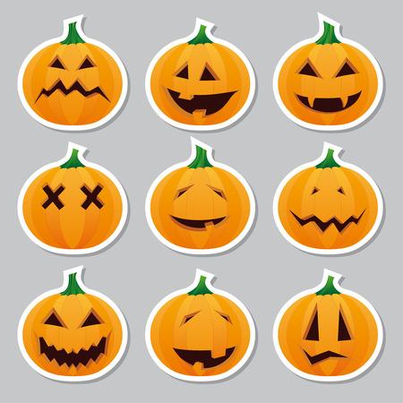 Halloween stickers - pumpkin Vector