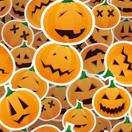 Halloween pumpkins - seamless pattern Vector