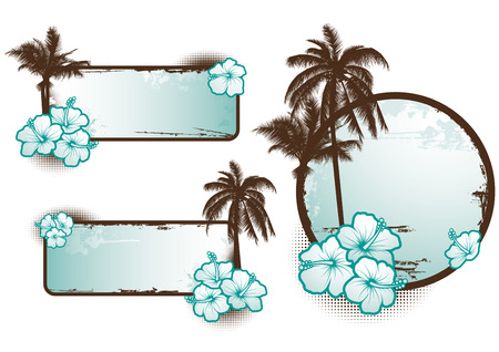 Set of tropical banners in blue - vector Illustration