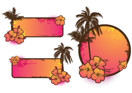 hibiszkusz: Set of 3 tropical labels