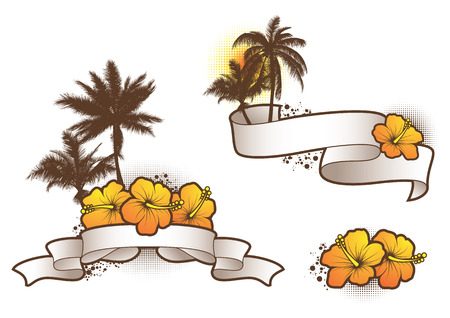 coconut palm: Tropical banners 2 Illustration