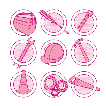 Tool icons pink Stock Vector - 8986743