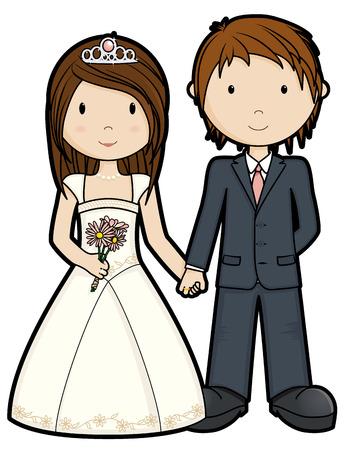 Just Married - isolated Ilustracja