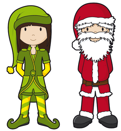 Santa and Elf - part of the girls series Vector