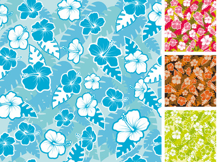 Hibiscus seamless pattern. 4 different colors Vector