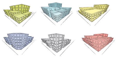 6 handdrawn building in perspective  Illustration