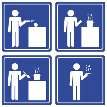 the dishes: Pictograph - cooking, male