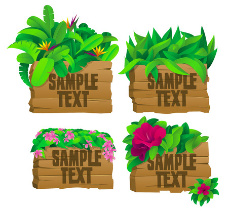4 tropical wooden signs with flowers Stock Vector - 8986722