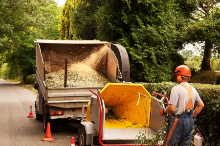 Man standing by a chipper which is disgorging chips onto a truck