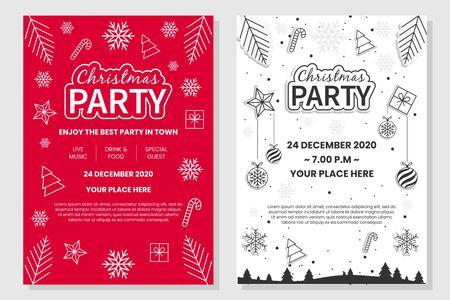 Manifesto della festa di Natale su sfondo rosso e bianco