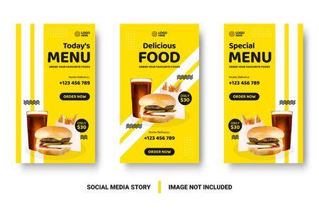 Food menu banner social media post. Editable social media templates for promotions on the Food menu. Set of social media story and post frames. Layout design for marketing on social media.