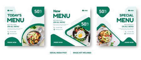 Food menu banner social media post. Editable social media templates for promotions on the Food menu. Set of social media story and post frames. Layout design for marketing on social media. Vector Illustration