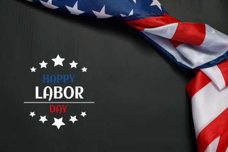Happy Labor day banner, USA flag on dark background. Stock Photo
