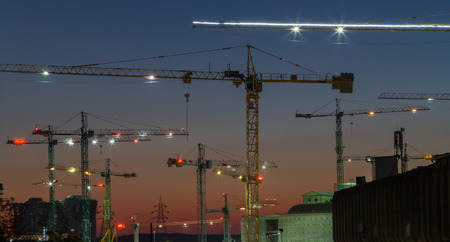 Cranes at the construction site. photo