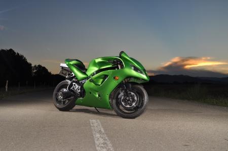 green sport motorcycle 写真素材