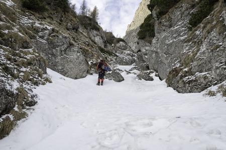 rocky trail Bucegi Mountains Landscape in winter photo