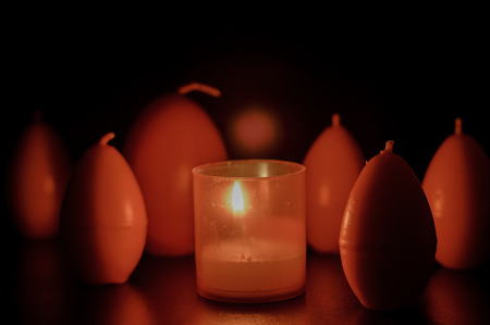 egg shape: red easter egg shape candles