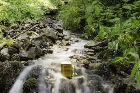 pilsner glass: beer cooled in waterfall spring