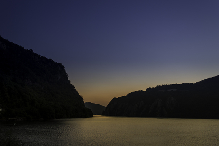 gorges: sunrise over the Danube Gorges Cazanele Mici