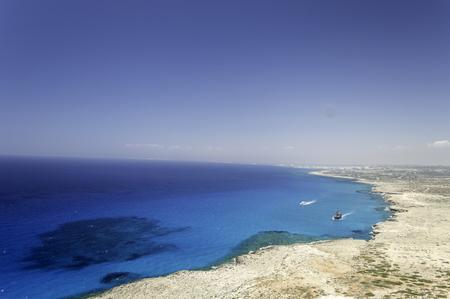 blue lagoon: veduta aerea della spiaggia di Ayia Napa, Cipro Archivio Fotografico