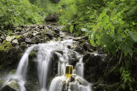cooled: beer cooled in waterfall spring