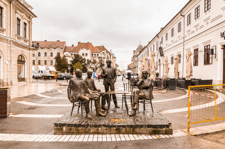 Statues of Hungarian poets. Oradea City in a cloudy day. Autumn. Romania Editorial