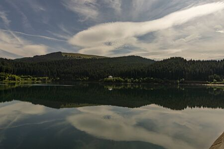 Mountain lake after the rain Stock Photo