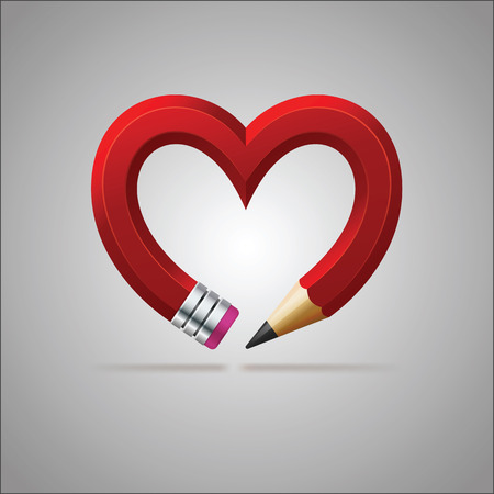 Red pencil forming the heart
