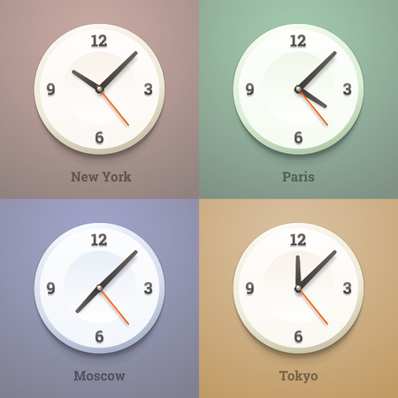wall clock: Round international watches on the wall. Vector illustration.