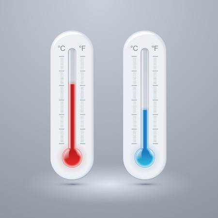 celsius: Thermometer icon. Vector. Celsius and Fahrenheit. measuring hot and cold temperature