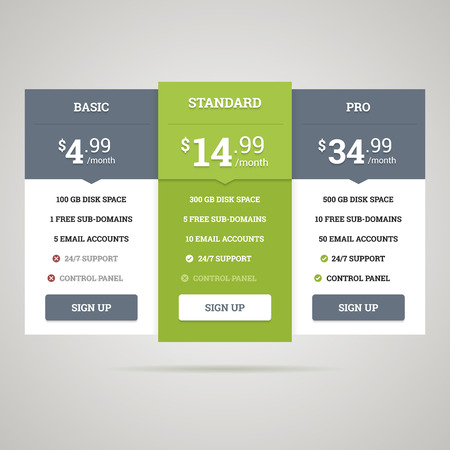pricing: Vector pricing table for websites and applications