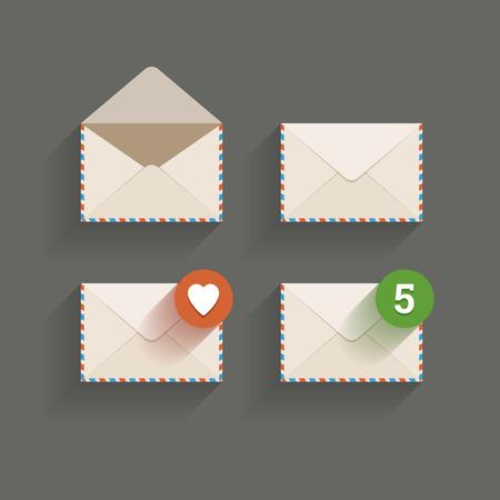 favorite number: Envelopes on a dark background  Vector illustration