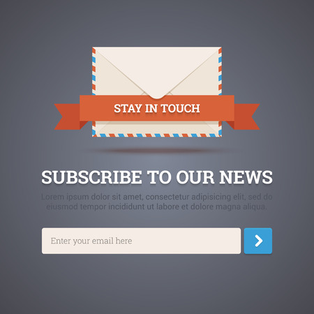Newsletter template - subscription form   向量圖像