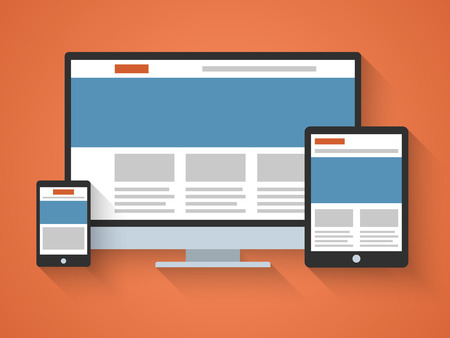 mobile website: Responsive web design in flat style