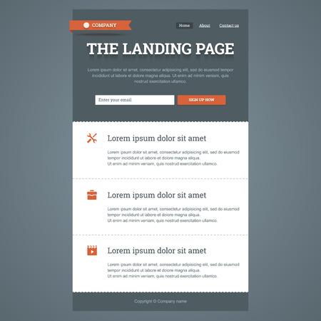 plantilla: La página de destino en el estilo plano con características iconos y formulario de registro.