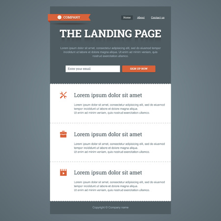 page up: Landing page in flat style with features icons and sign up form.