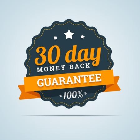 dinero: Insignia de devolución de 30 días. Ilustración del vector en estilo plano.