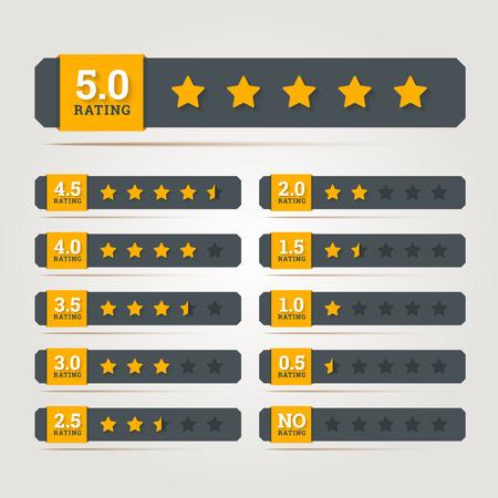 Estrellas de calificación insignias. Ilustración del vector en EPS10.