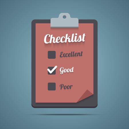 Clipboard with checklist. Vector