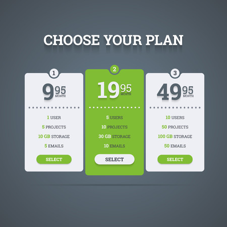Pricing plans table.  Vector