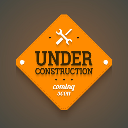 Under construction with coming soon label.  Vector