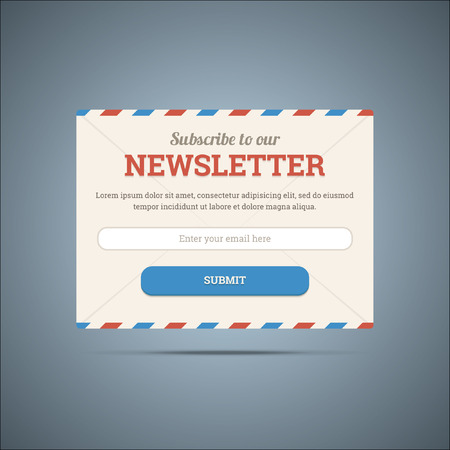 Newsletter subscribe form for web and mobile. Vector illustratio Vettoriali