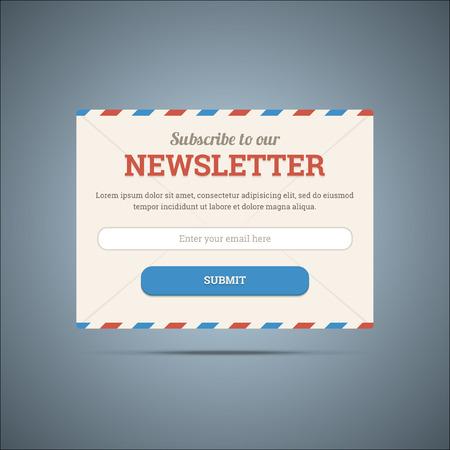 Nieuwsbrief abonneren formulier voor web en mobiel. Vectorillustratio Stock Illustratie